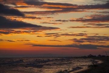 Colorful sunrise over sea