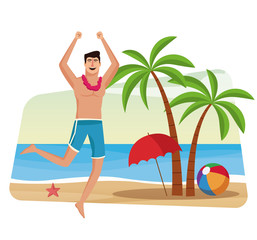 Happy man at beach vector illustration graphic design