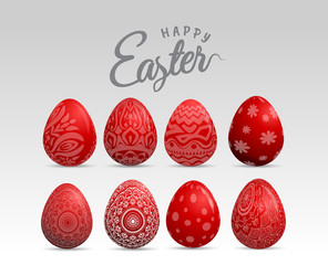 Red easter eggs with patten set. Vector illustration.