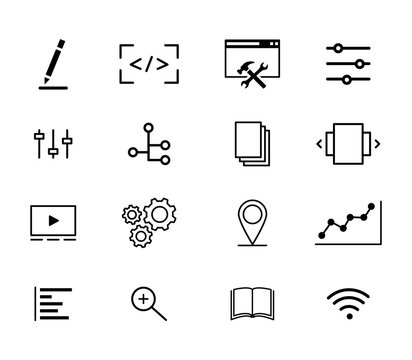 Collection of icons, online business and progress concept, web symbols