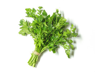 Fresh parsley isolated on white background. Top view.