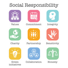 Social Responsibility Solid Icon Set w Honesty, integrity, & collaboration, etc