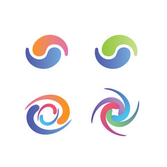 Yin and Yang Symbols, with swirly decorative graphics - pastel colors
