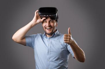 Bearded guy in virtual reality