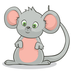 Cartoon Style Cute Little Gray Mouse Standing on Hind Legs Vector Illustration
