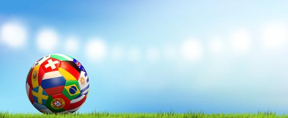 soccer football ball 3d rendering soccer stadium national flags