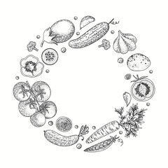 Vegetable vector circle with cucumber, tomato, pepper, eggplant, potato, peas, carrot, broccoli. Healthy food design template with vector vegetables. Great for design menu, recipes, poster.