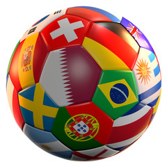 soccer football ball 3d rendering soccer stadium national flags