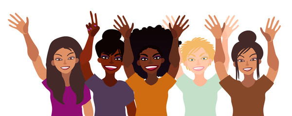 Group of happy smiling women of different race together holding hands up with piece sign, open palm. Flat style illustration isolated on white. Feminism diversity tolerance girl power concept.