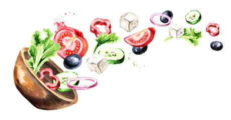 Bowl with Greek salad with fresh vegetables and feta cheese. Watercolor hand drawn horizontal illustration, isolated on white background