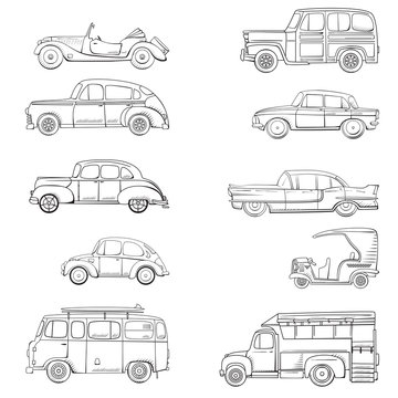 Collection with retro car in cartoon style. Color vintage retro auto. Classic car drawn set outline
