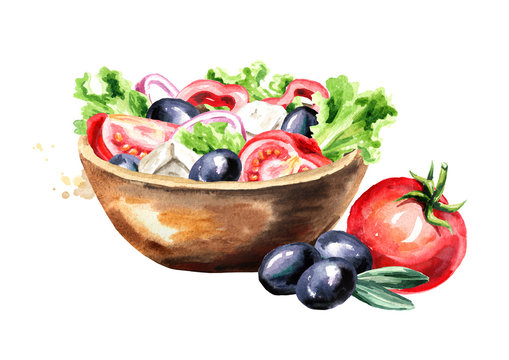 Bowl with Greek salad with fresh vegetables and feta cheese. Watercolor hand drawn illustration, isolated on white background