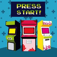 Press start vintage arcade design
