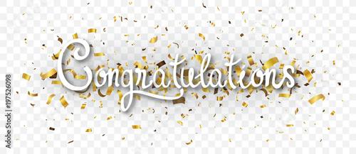 congratulations banner with gold confetti fotolia com の ストック