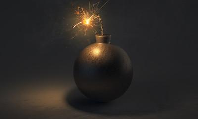Bombe mit angezündeter Lunte