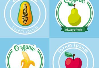 4 Round Fruit Icons