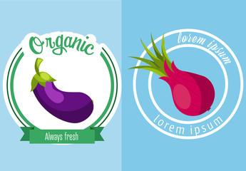 4 Round Vegetable Icons