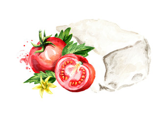 Greek feta cheese block with tomatoes. Watercolor hand drawn illustration, isolated on white background