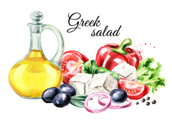 Greek salad ingredients. Watercolor hand drawn illustration, isolated on white background
