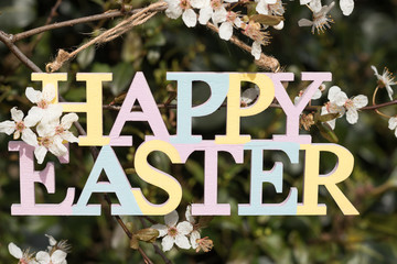 Colorful Happy Easter sign is on the background of dark green foliage of a blossoming tree in a sunny spring day. Concept: Celebration of Easter.