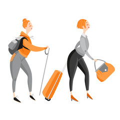 Happy funny cartoon girl traveling and hiking. Vector illustration on white background.
