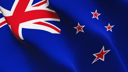 New Zealand flag waving loop. New Zealand flag blowing on wind.