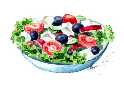 Greek salad with fresh vegetables and feta cheese. Watercolor hand drawn illustration, isolated on white background