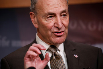 Senate Minority Leader Chuck Schumer speaks at a news conference about the omnibus spending bill moving through Congress on Capitol Hill in Washington