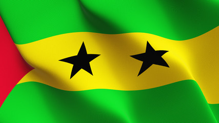 Sao Tome and Principe flag waving loop. Santomean flag blowing on wind.