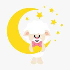 cartoon cute sheep white with tie and moon