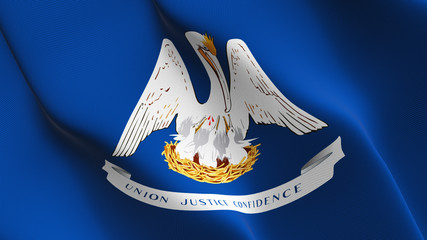 Louisiana US State flag waving loop. United States of America Louisiana flag blowing on wind.