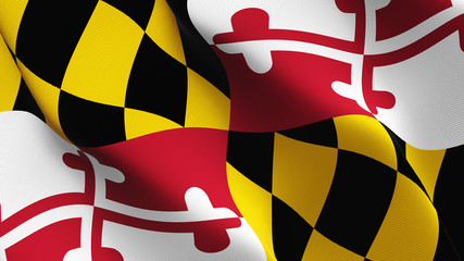 Maryland US State flag waving loop. United States of America Maryland flag blowing on wind.