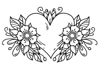 Tattoo pink heart decorated ribbon, blue flowers, leaves. Black and white illustration for Valentines Day. Old school