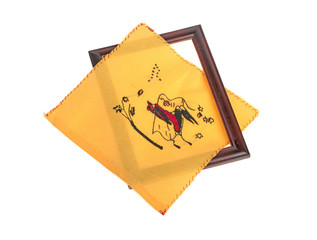 Fabric for embroidery with picture and wooden frame Handmade on white background