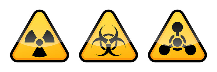 Warning vector signs set. Radiation sign, Biohazard sign, Chemical Weapons Sign.