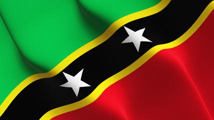 Saint Kitts and Nevis flag waving loop. Saint Kitts and Nevis flag blowing on wind.