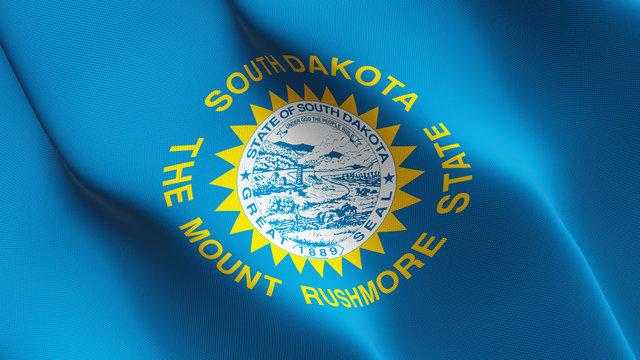 South Dakota US State flag waving loop. United States of America South Dakota flag blowing on wind.