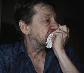Uomo anziano, tristezza, depressione