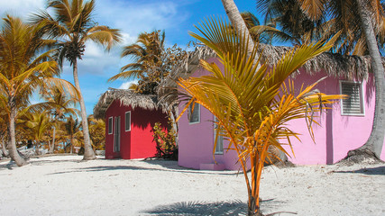 Colorful Beach Huts. Relaxing tropical background