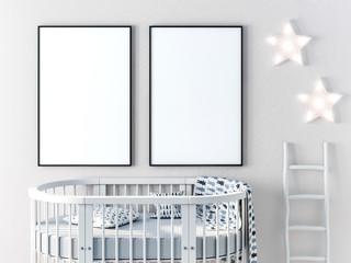 Frame poster mock up in child bedroom 3d rendering