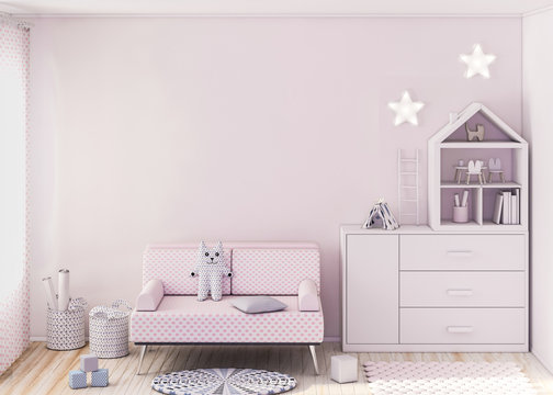 Mockup wall in child room 3d rendering