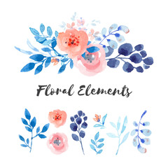 Pastel pink and blue floral elements