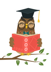 Smart owl reading book on tree branch on white background. Knowledge, education, studying, teaching concept vector illustration.