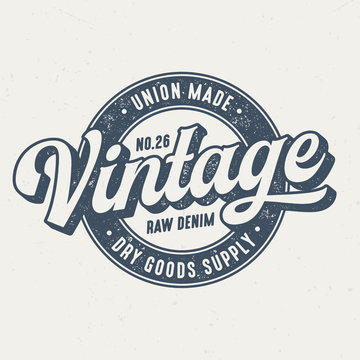 Union Made Vintage Raw Denim - Tee Design For Print