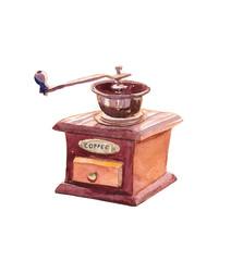 Watercolor red and brown vintage retro coffee grinder.