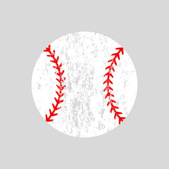 Distressed baseball ball. Softball. Vector silhouette. Vector icon isolated