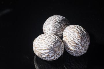 Fototapeta Macro collection, dried muscat nutmeg close up obraz