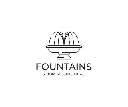 Water jet fountain logo template. Linear fountain silhouette vector design. Water splash logotype