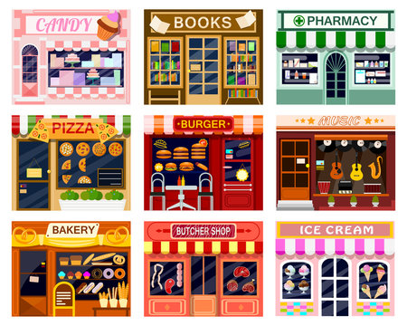 Shop window vector showwindow of book store or candyshop and window-case of pizzeria illustration set of butcher shop or bakery and burger or ice cream frontstore showcase isolated on white background