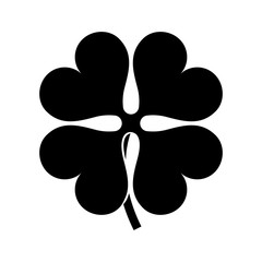 Black silhouette of a four leaves clover, isolated.